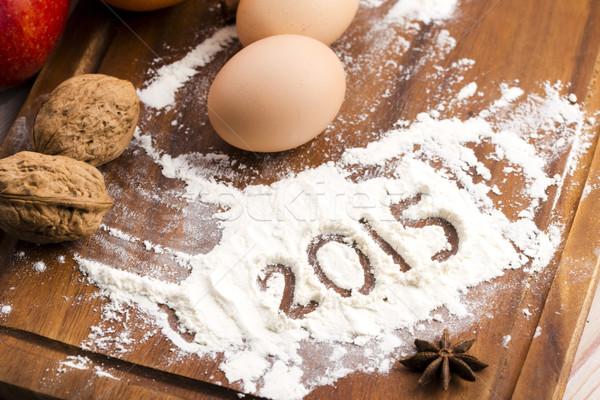 ストックフォト: 碑文 · 小麦粉 · 2015 · 光 · 卵 · キッチン