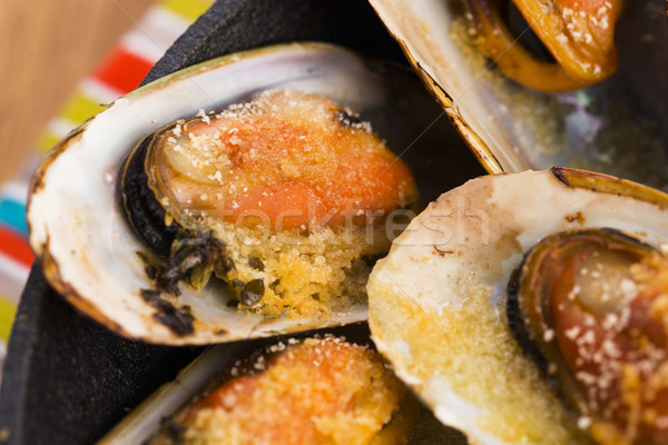 Delicious Fresh Clams with herbs Stock photo © joannawnuk
