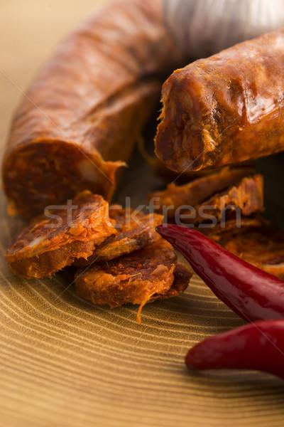 İspanyolca geleneksel chorizo sosis taze otlar Stok fotoğraf © joannawnuk