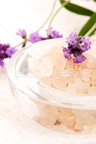 Fürdősó friss levendula virágok test egészség Stock fotó © joannawnuk