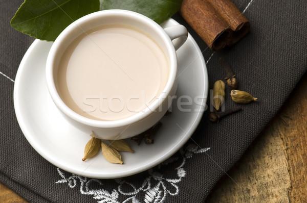 Ital levelek tej tea fekete indiai Stock fotó © joannawnuk