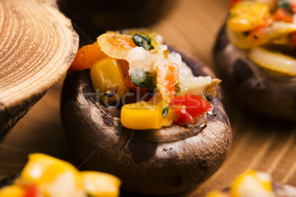 詰まった キノコ 食品 チーズ 肉 トマト ストックフォト © joannawnuk
