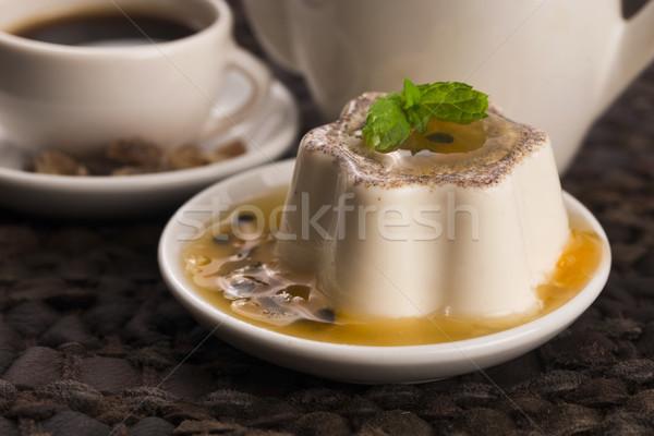 デザート 情熱 フルーツ ミント 食品 ガラス ストックフォト © joannawnuk