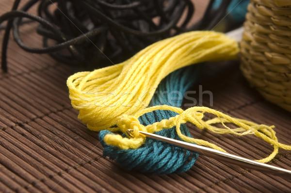 Croché gancho lana casa verde pelota Foto stock © joannawnuk