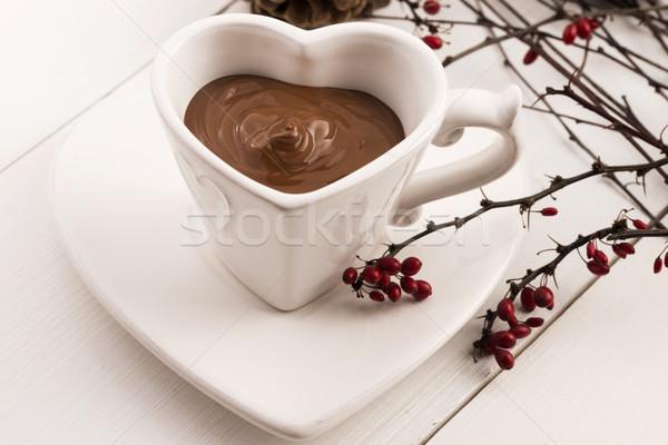 バレンタインデー お祝い ホットチョコレート デザイン 背景 表 ストックフォト © joannawnuk