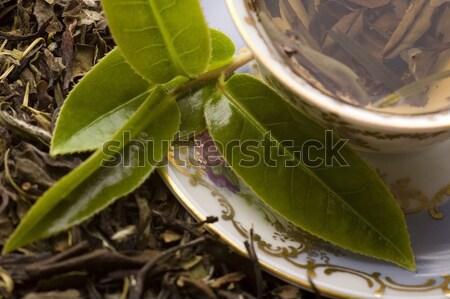 Tea friss aszalt levél háttér zöld Stock fotó © joannawnuk