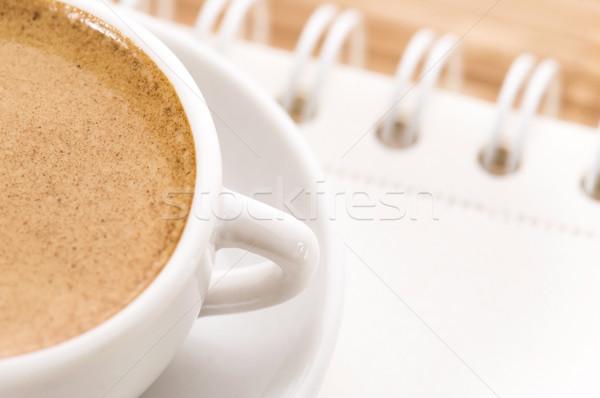 ноутбук Кубок кофе пространстве сведению документа Сток-фото © joannawnuk