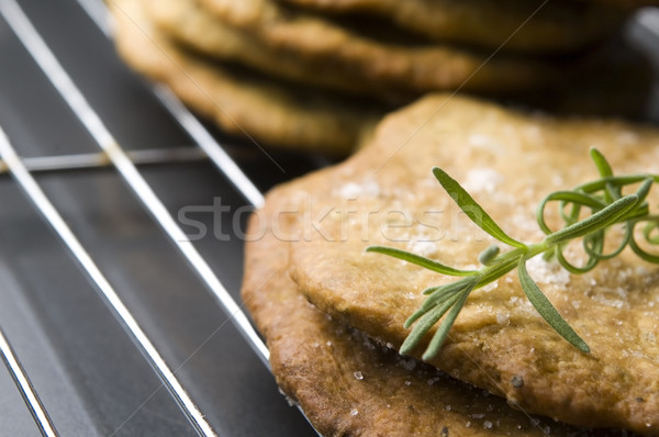 Stock photo: Homemade rustical crackers with rosemary