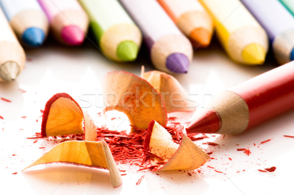 Sharpened pencils and wood shavings Stock photo © joannawnuk