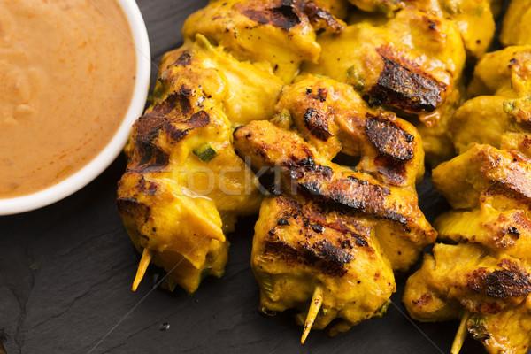 Delicious Asian Cuisine Chicken Satay Stock photo © joannawnuk