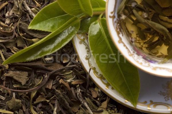 茶 新鮮な 葉 背景 緑 ストックフォト © joannawnuk