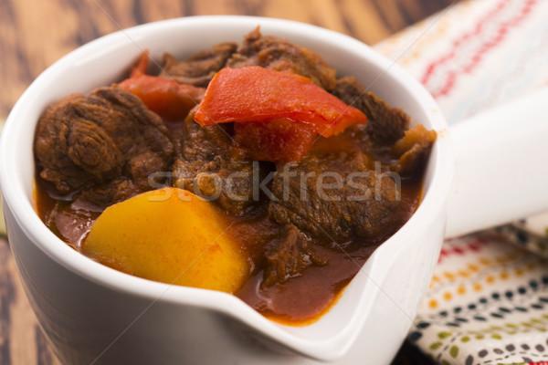 Carne guisada tabela carne tomates refeição sal Foto stock © joannawnuk