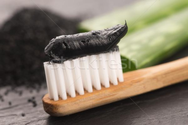 Diş fırçası siyah kömür diş macunu aloe arka plan Stok fotoğraf © joannawnuk