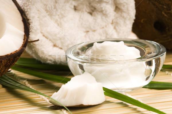 Foto d'archivio: Cocco · olio · fiore · massaggio · bambù · equilibrio