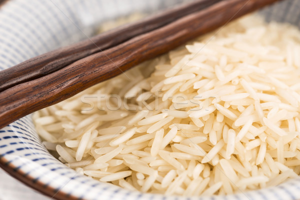 Basmati rijst kom hout groep gezonde Stockfoto © joannawnuk