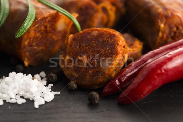 Spaans traditioneel chorizo worst vers kruiden Stockfoto © joannawnuk