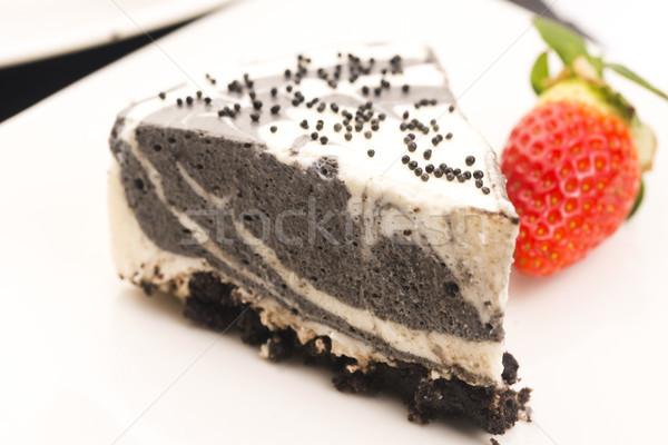 黒 ごま チーズケーキ 背景 チーズ プレート ストックフォト © joannawnuk
