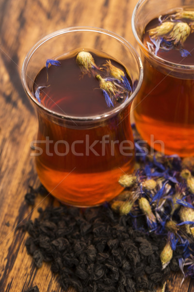 Glass cup with a cornflower tea Stock photo © joannawnuk