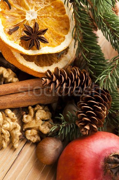 Diferente especias nueces secado naranjas Navidad Foto stock © joannawnuk