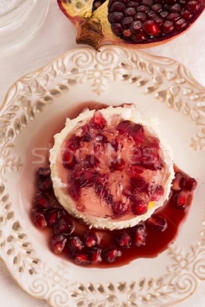 Stock photo: coconut panna cotta dessert with pomegranate
