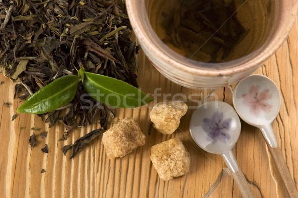 Chá verde fresco ramo folha chá ouro Foto stock © joannawnuk