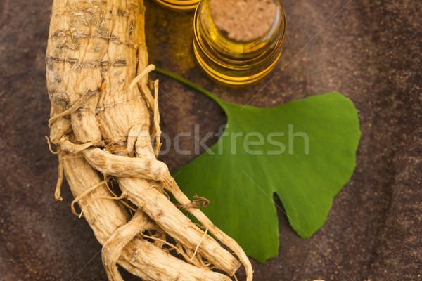 Ginseng raiz folhas folha saúde beber Foto stock © joannawnuk