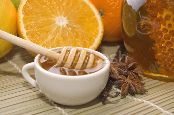 Stok fotoğraf: Taze · bal · petek · baharatlar · meyve · limon