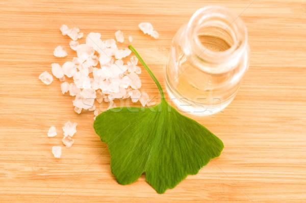 fresh leaves ginko biloba essential oil and sea salt - beauty tr Stock photo © joannawnuk