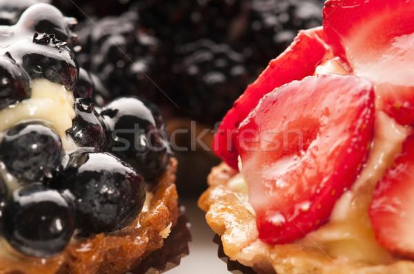 ストックフォト: フランス語 · ケーキ · 新鮮な · 果物 · レストラン · 赤