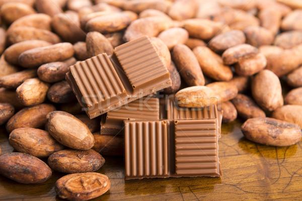 Cacao bonen melk chocolade groep witte Stockfoto © joannawnuk