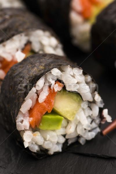 Salmon rolls served on a plate Stock photo © joannawnuk