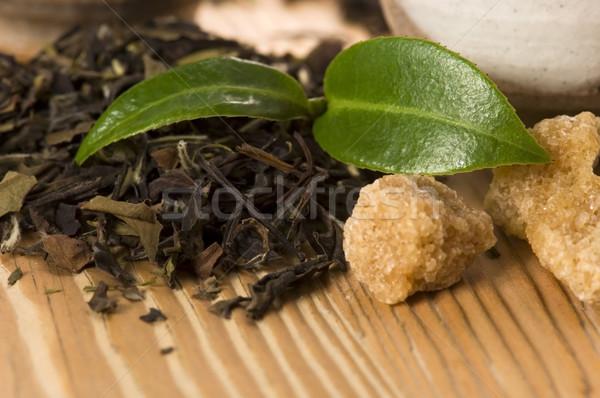 Thé vert feuille tasse japonais Asie culture Photo stock © joannawnuk