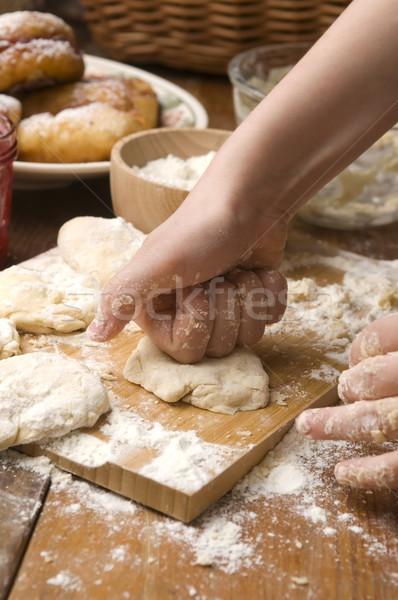 Detail of hands kneading dough Stock photo © joannawnuk