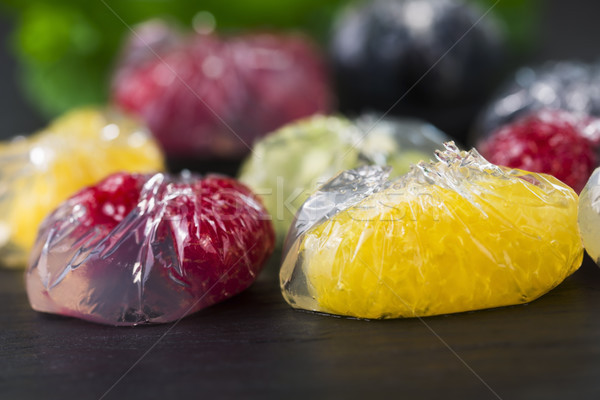 Jello dessert with fruits Stock photo © joannawnuk