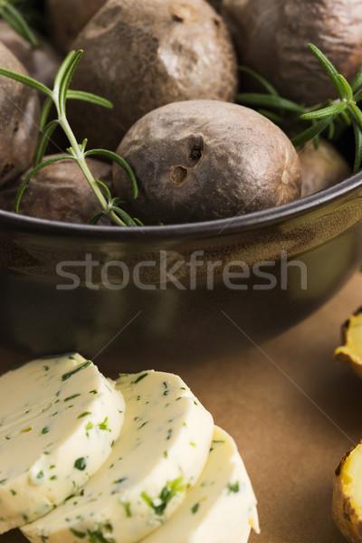 Stockfoto: Gebakken · kruiden · boter · voedsel · hout