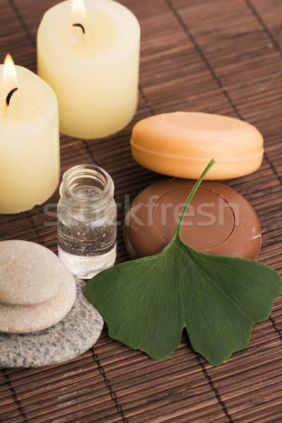 Corpo verde pedra estância termal banho Foto stock © joannawnuk