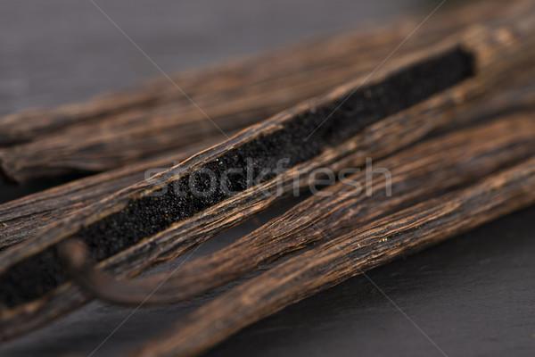 バニラ 背景 黒 アジア 料理 デザート ストックフォト © joannawnuk