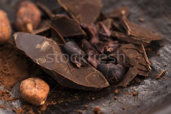 Picado chocolate cacau fundo bar escuro Foto stock © joannawnuk