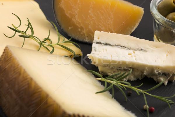 Különböző sajt étel bor csoport kés Stock fotó © joannawnuk
