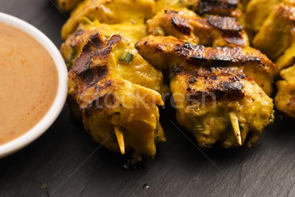 Finom ázsiai konyha tyúk étel tányér hús Stock fotó © joannawnuk