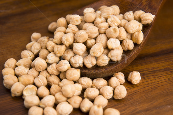 dried white chickpeas ceci on the wooden spoon Stock photo © joannawnuk