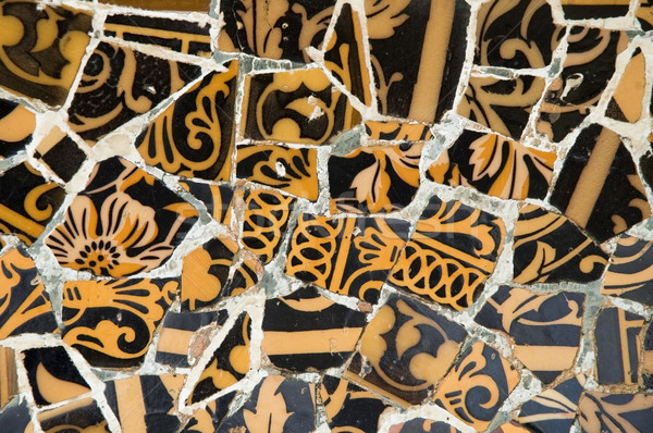 Detail of the ceramics from the Guadi bench in park Guell Barcelona, Spain Stock photo © joannawnuk