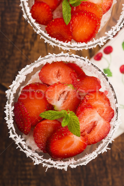 A serving of strawberry over tapioca and jelly Stock photo © joannawnuk
