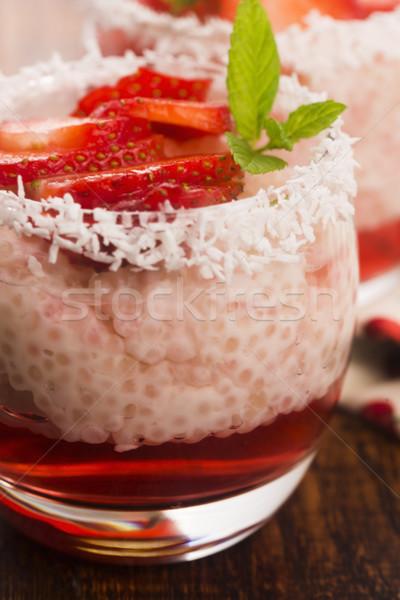 Fraise gelée fruits tasse dessert Photo stock © joannawnuk