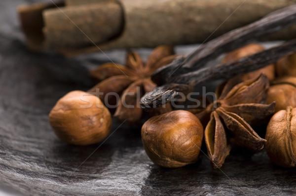 Aromás fűszer barnacukor diók háttér csillag Stock fotó © joannawnuk