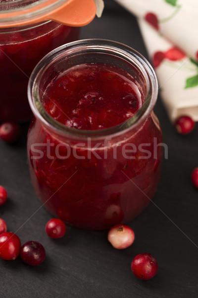 Vörösáfonya zselé desszert fa zöld csoport Stock fotó © joannawnuk