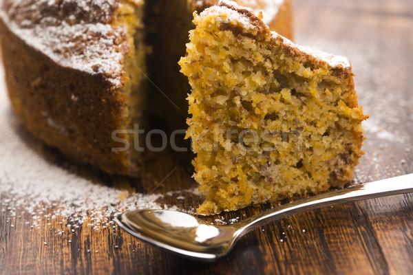 Foto stock: Bolo · de · cenoura · delicioso · comida · bolo · gordura · cenoura