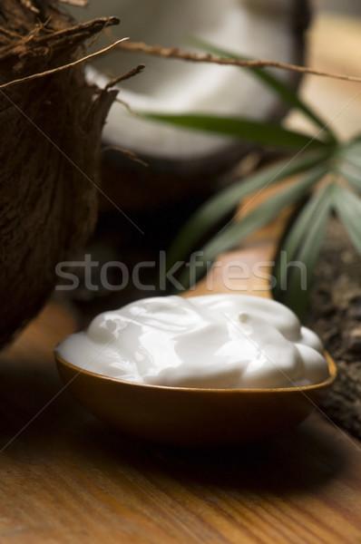 Foto stock: Coco · petróleo · flor · masaje · bambú · equilibrio