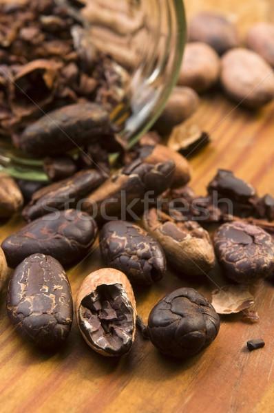 Cacao fagioli naturale tavolo in legno cioccolato cucina Foto d'archivio © joannawnuk