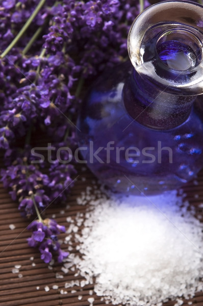 Lavender flowers with the bath salt and essential oil Stock photo © joannawnuk
